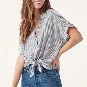 Splendid Lily Short Sleeve Stripe Button Down